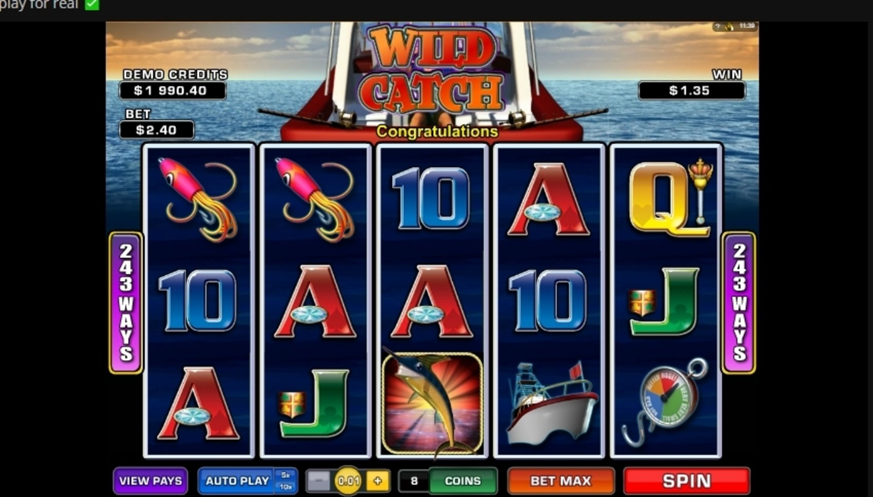 Win Money in Wild Catch (Microgaming) Free Slot Game by Microgaming