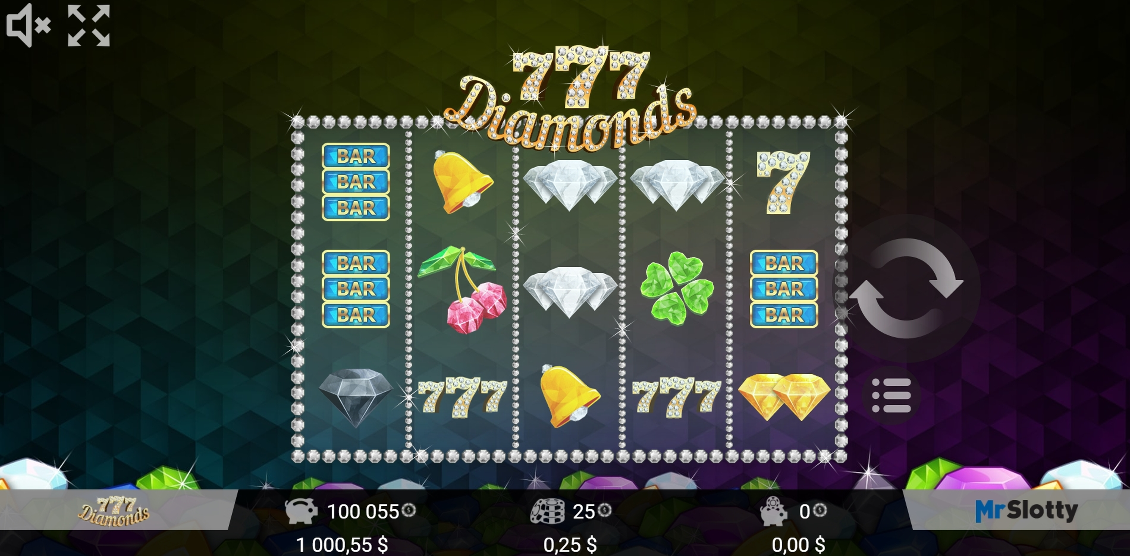 Reels in 777 Diamonds Slot Game by Mr Slotty