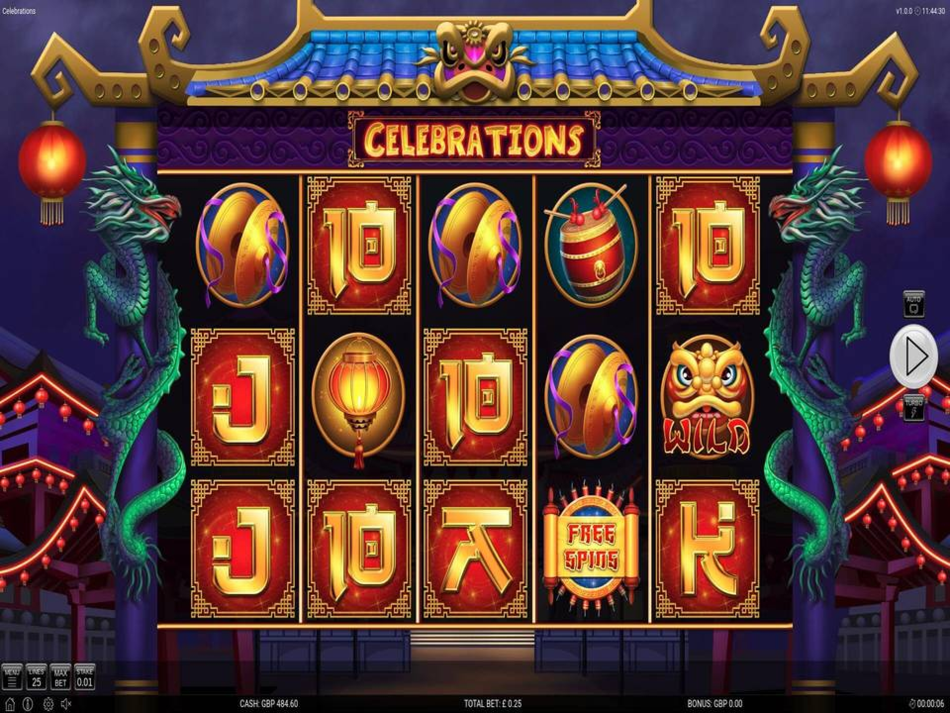 The Celebrations Online Slot Demo Game by Nektan