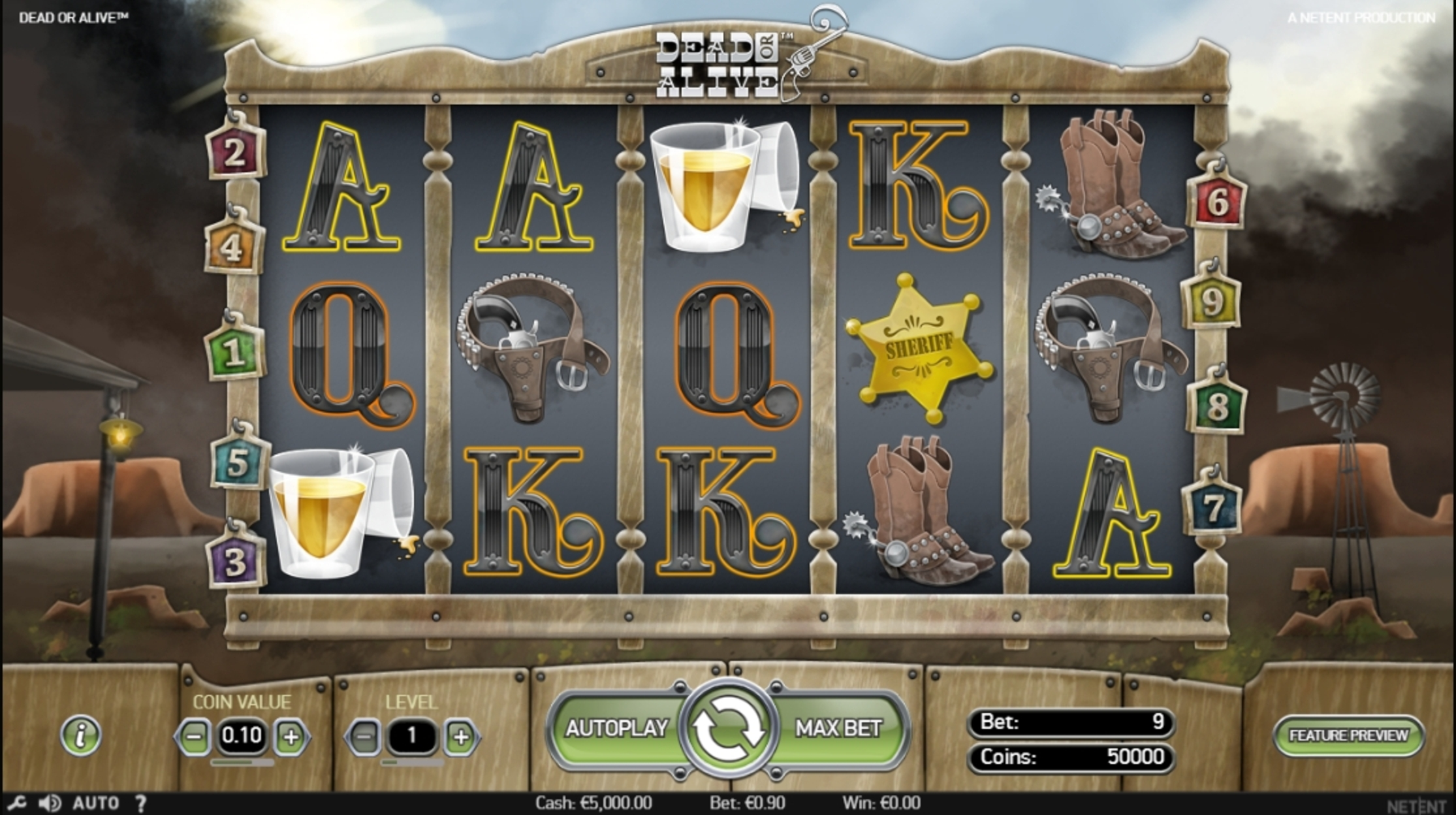 Reels in Dead or Alive Slot Game by NetEnt
