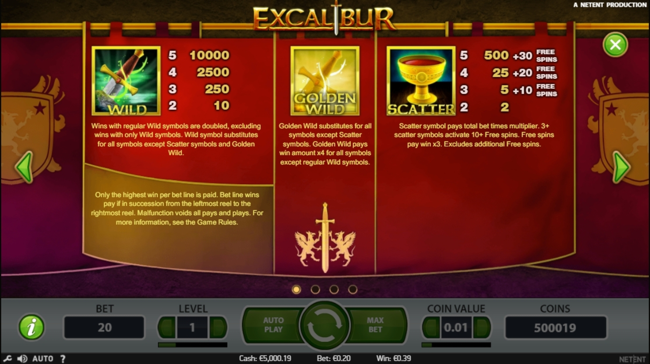 Info of Excalibur Slot Game by NetEnt