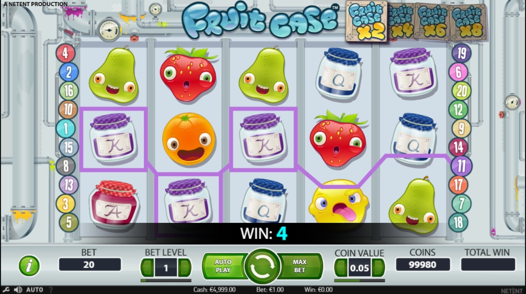 Win Money in Fruit Case Free Slot Game by NetEnt