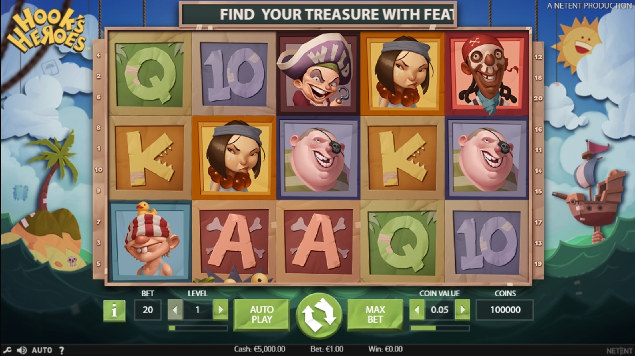 Reels in Hook's Heroes Slot Game by NetEnt