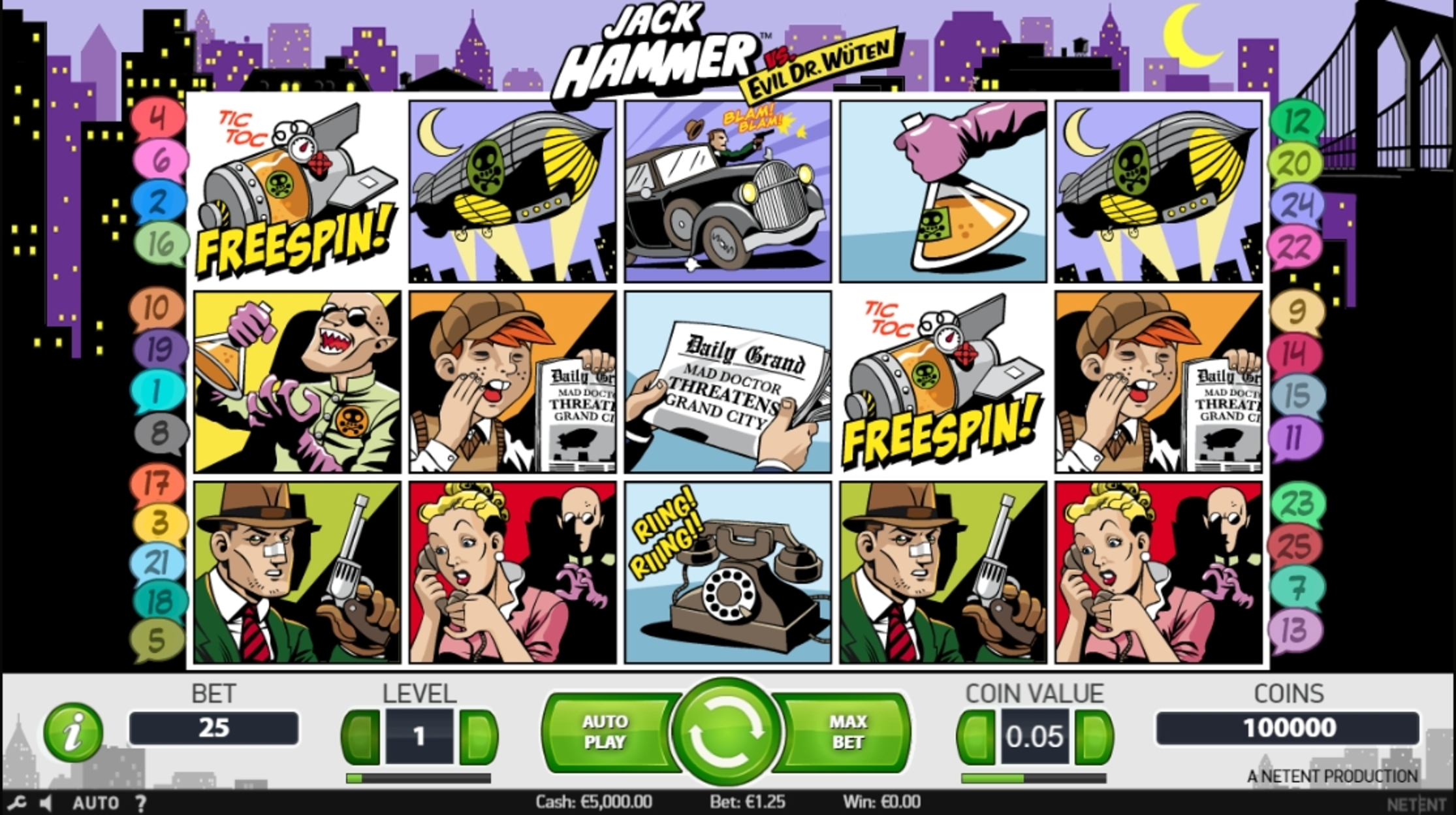 Reels in Jack Hammer Slot Game by NetEnt