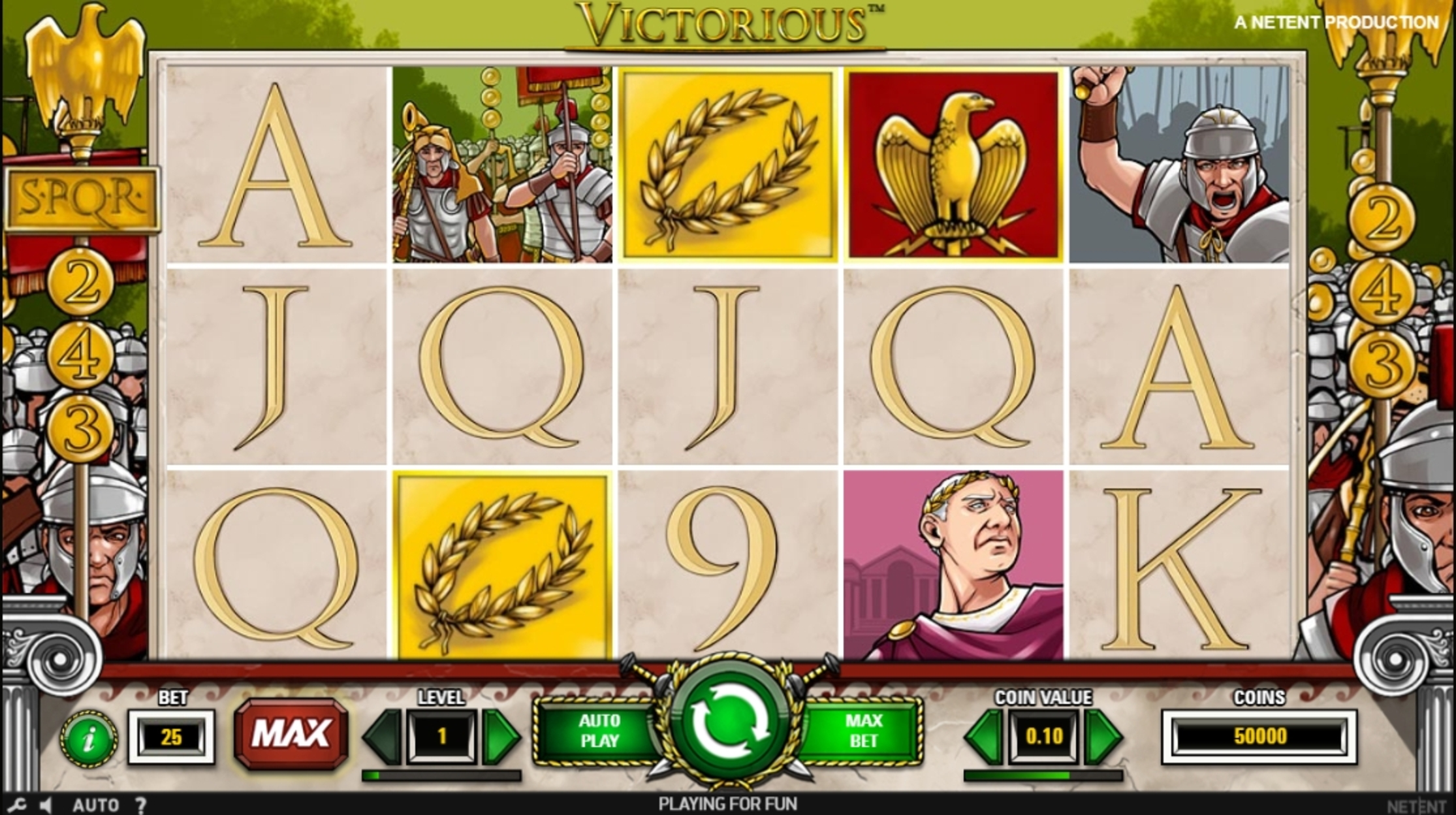 Reels in Victorious Slot Game by NetEnt