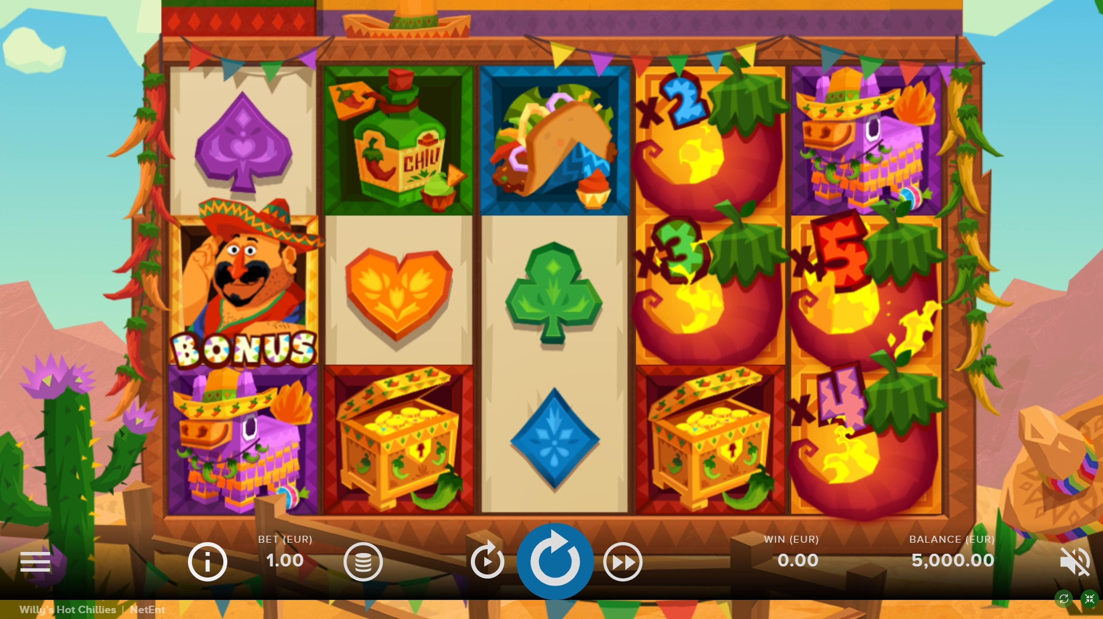 Reels in Willys Hot Chillies Slot Game by NetEnt