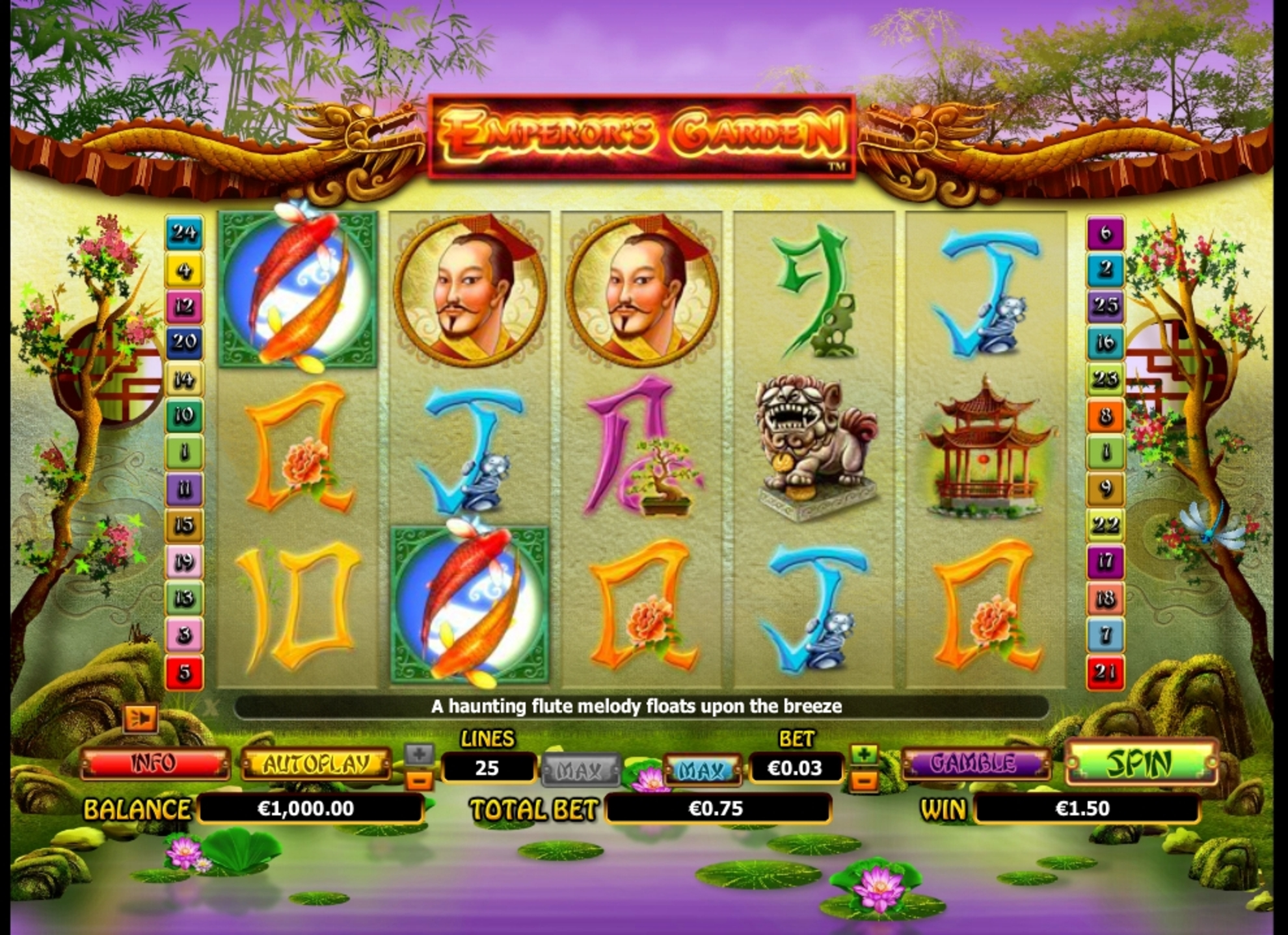 Win Money in Emperor's Garden Free Slot Game by NextGen Gaming