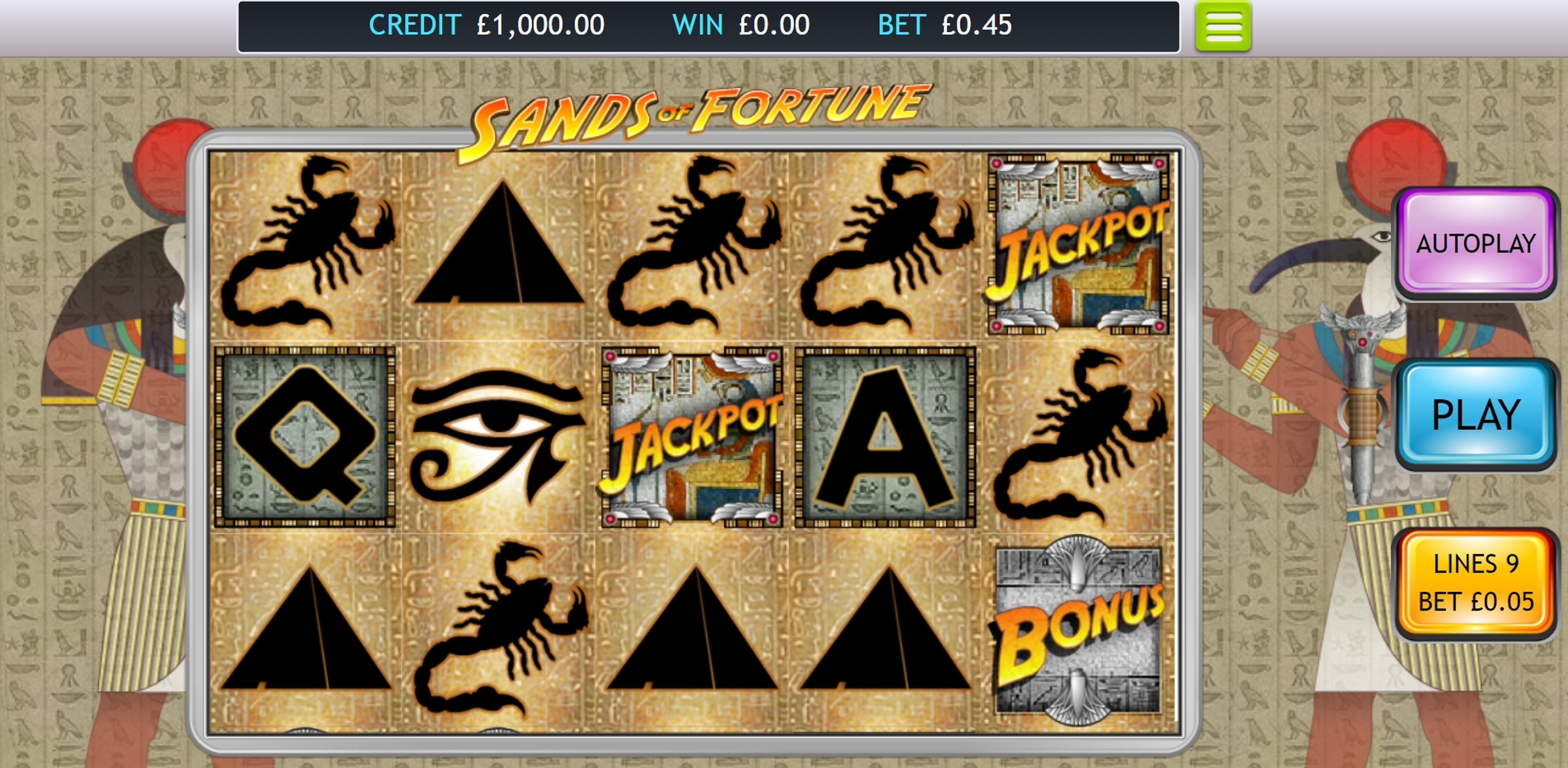 Reels in Sands of Fortune Slot Game by OpenBet