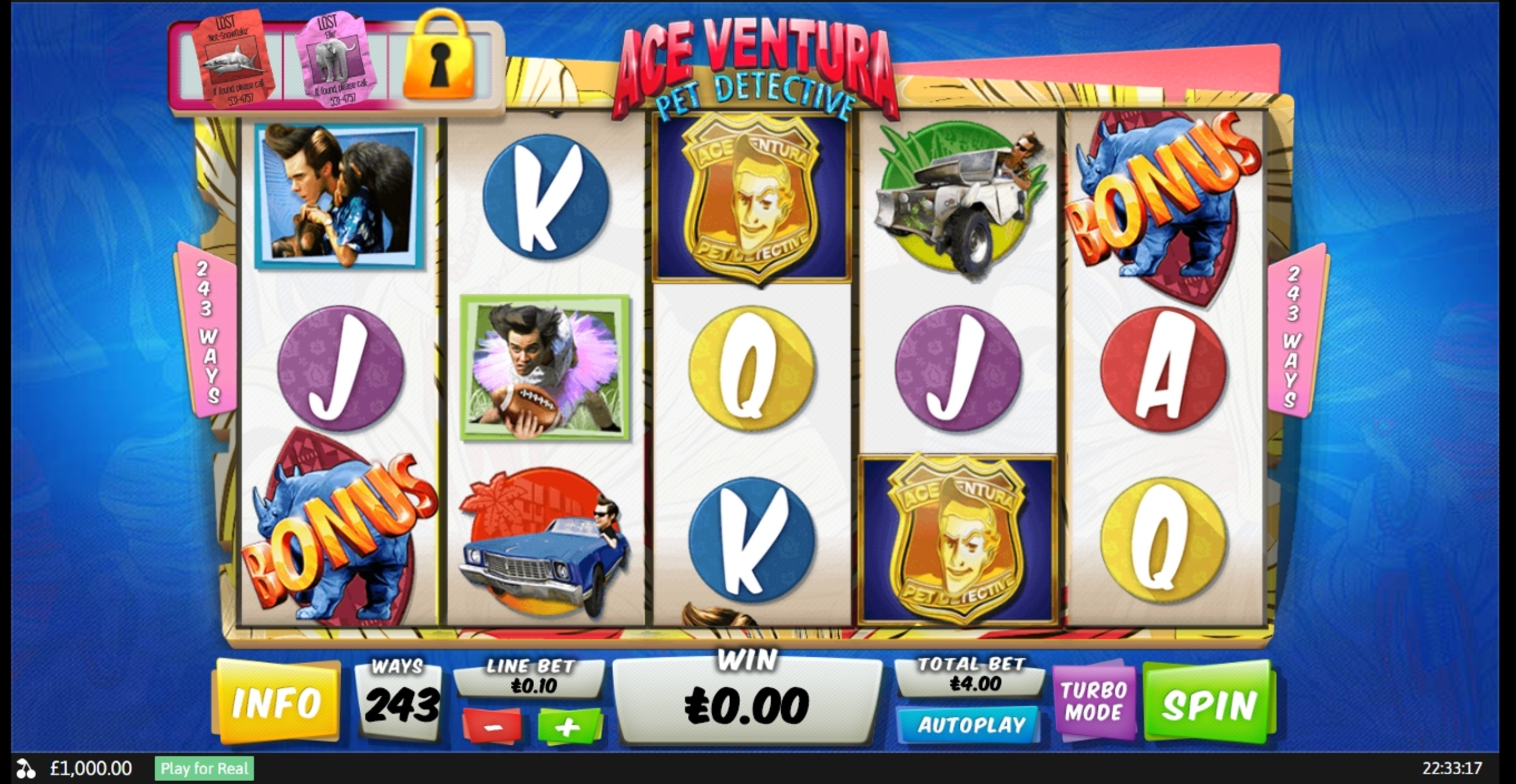 Ace Ventura Slot Machine
