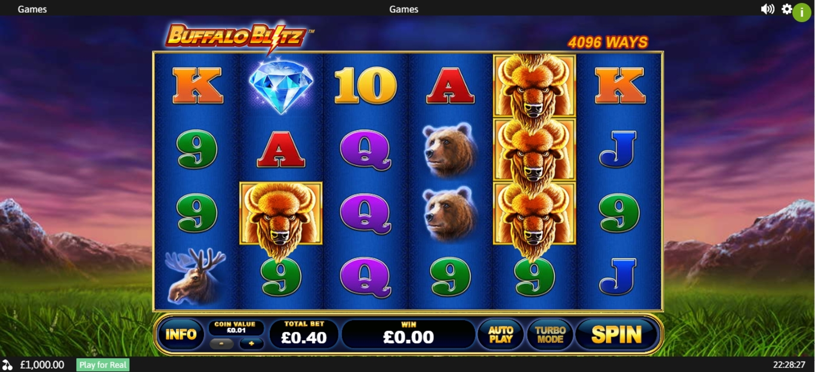Reels in Buffalo Blitz Slot Game by Playtech