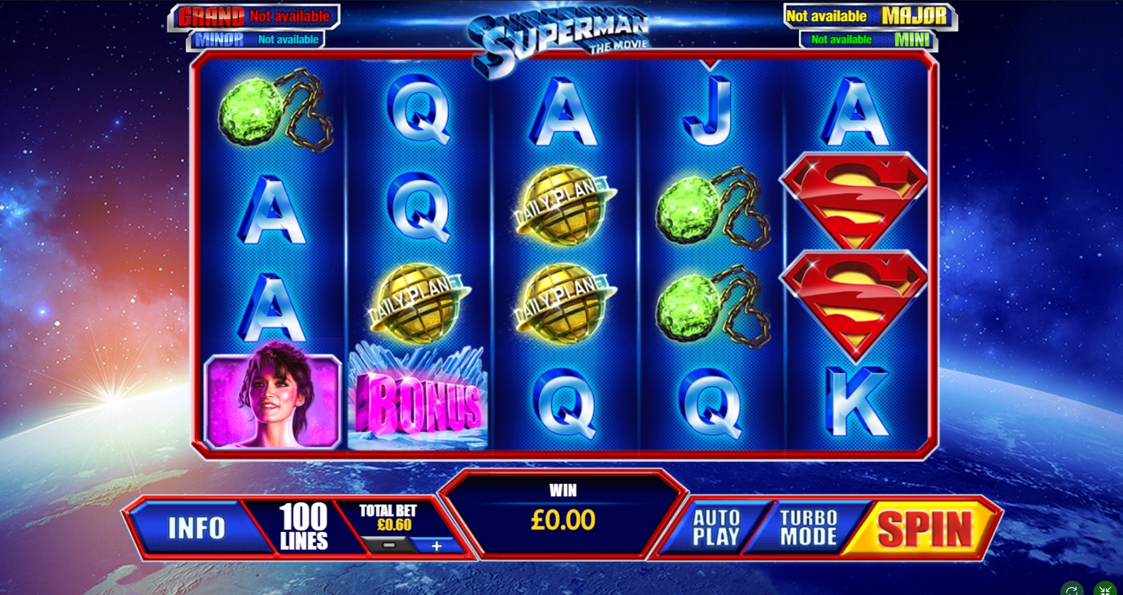 Reels in Superman The Movie Slot Game by Playtech