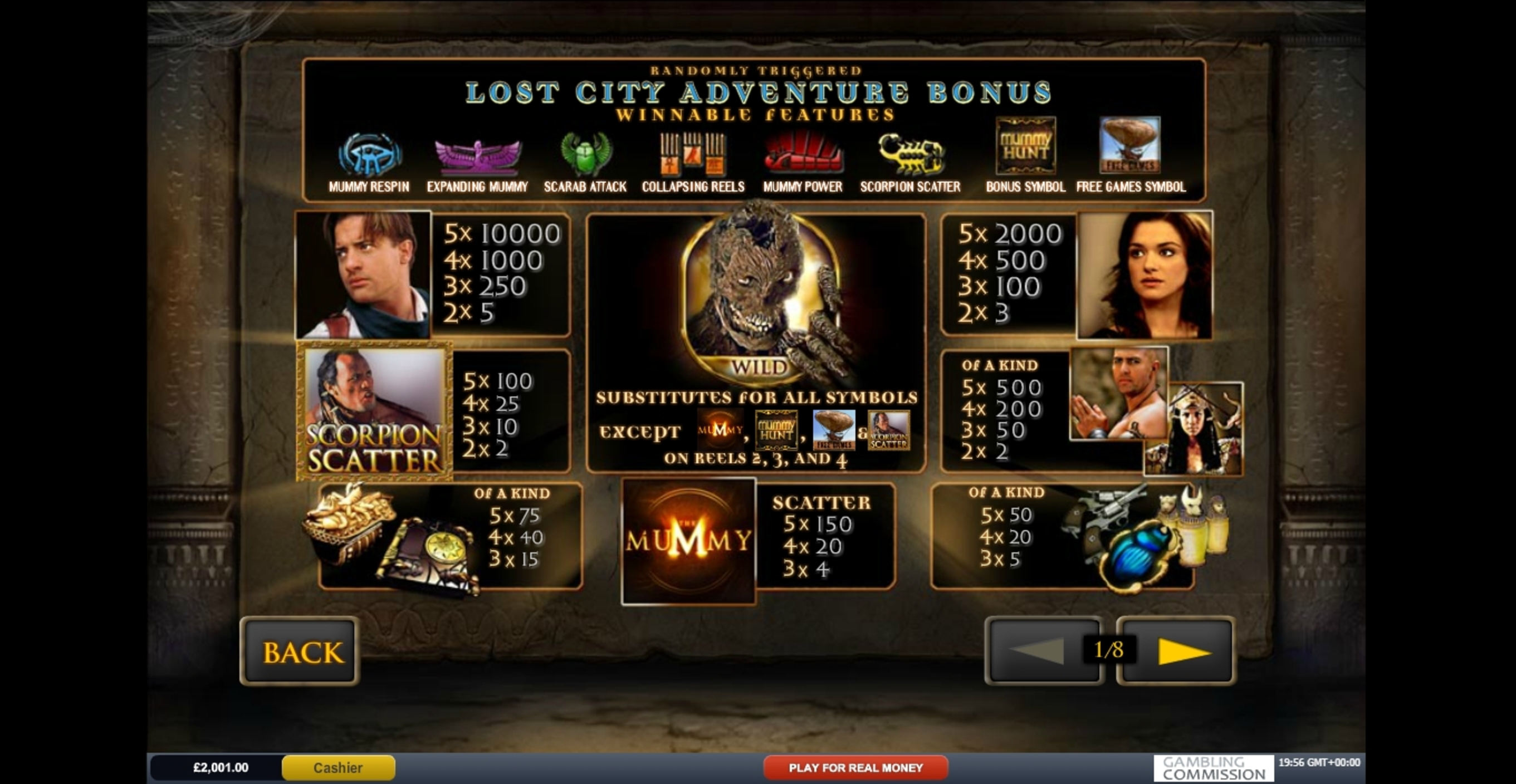 Info of The Mummy Slot Game by Playtech