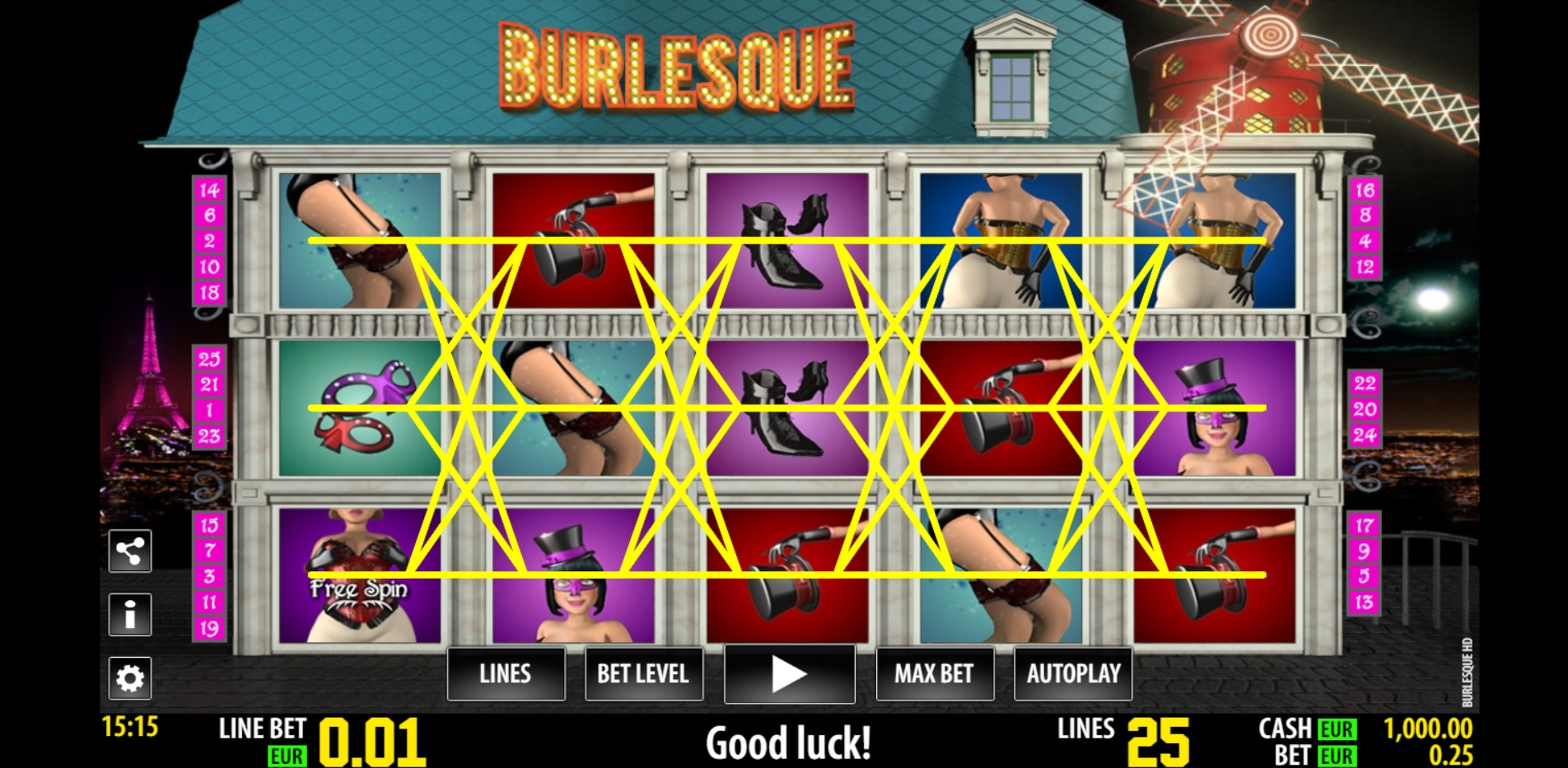 Reels in Burlesque Slot Game by Portomaso Gaming