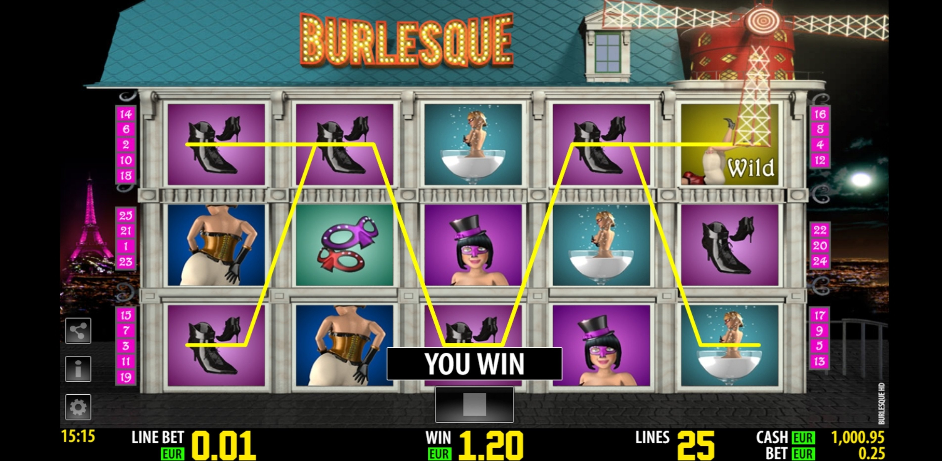 Win Money in Burlesque Free Slot Game by Portomaso Gaming