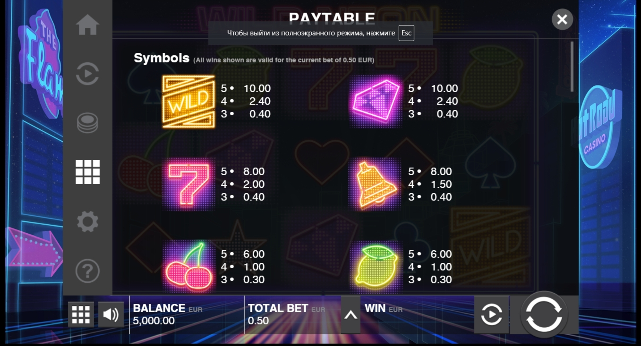 Info of Wild Neon Slot Game by Push Gaming