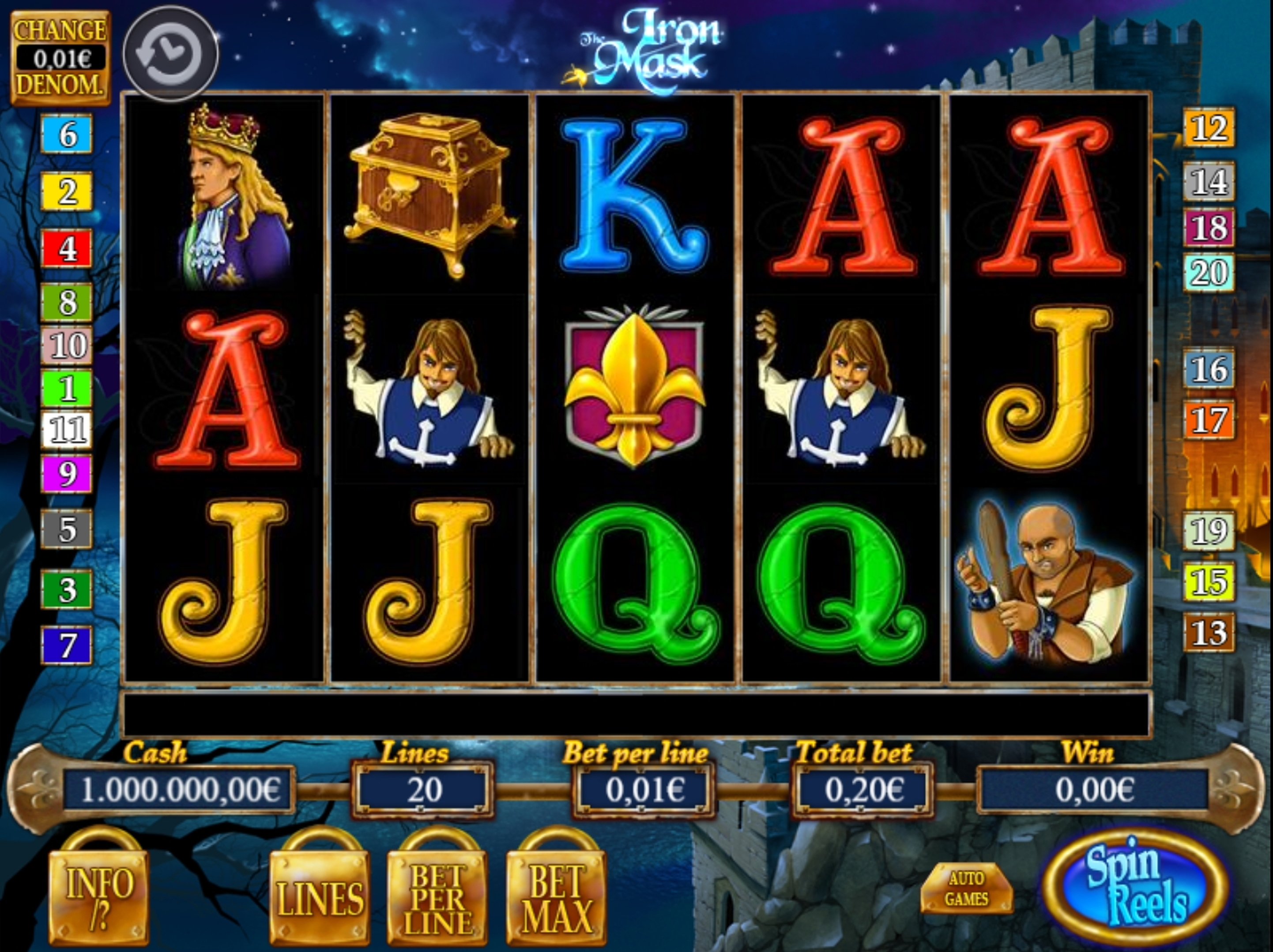 Reels in The Iron Mask Slot Game by RFranco Group
