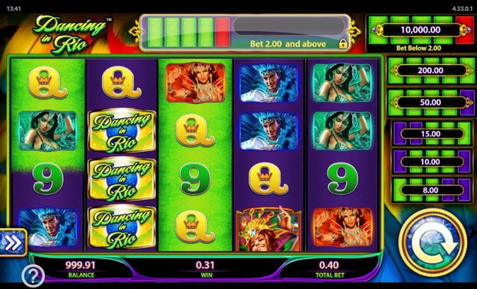 Dancing in Rio Online Slot Demo Game by WMS