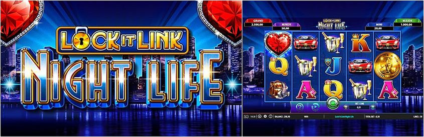 The Lock it Link Night Life Online Slot Demo Game by SG Interactive