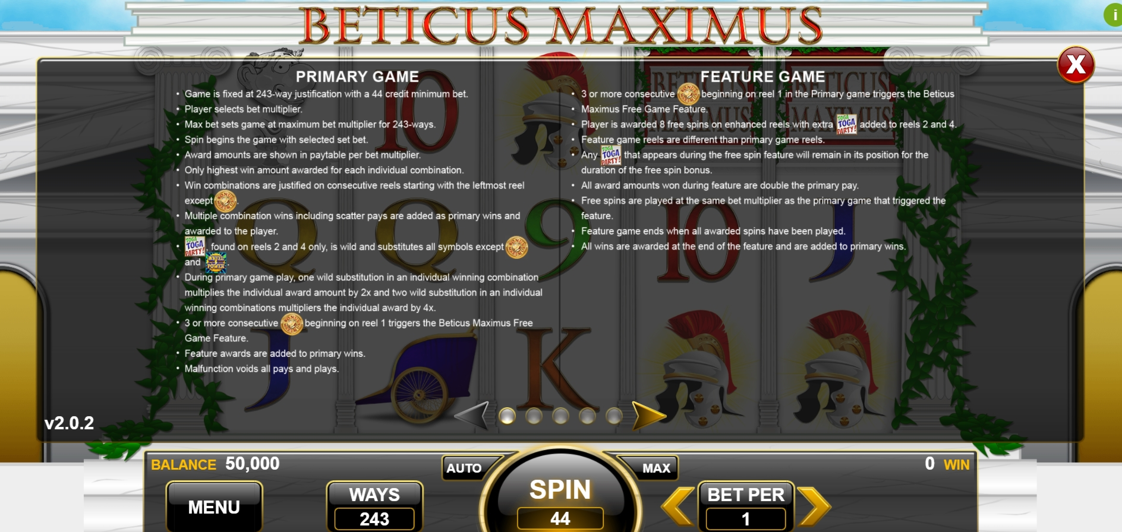 Info of Beticus Maximus Slot Game by Spin Games