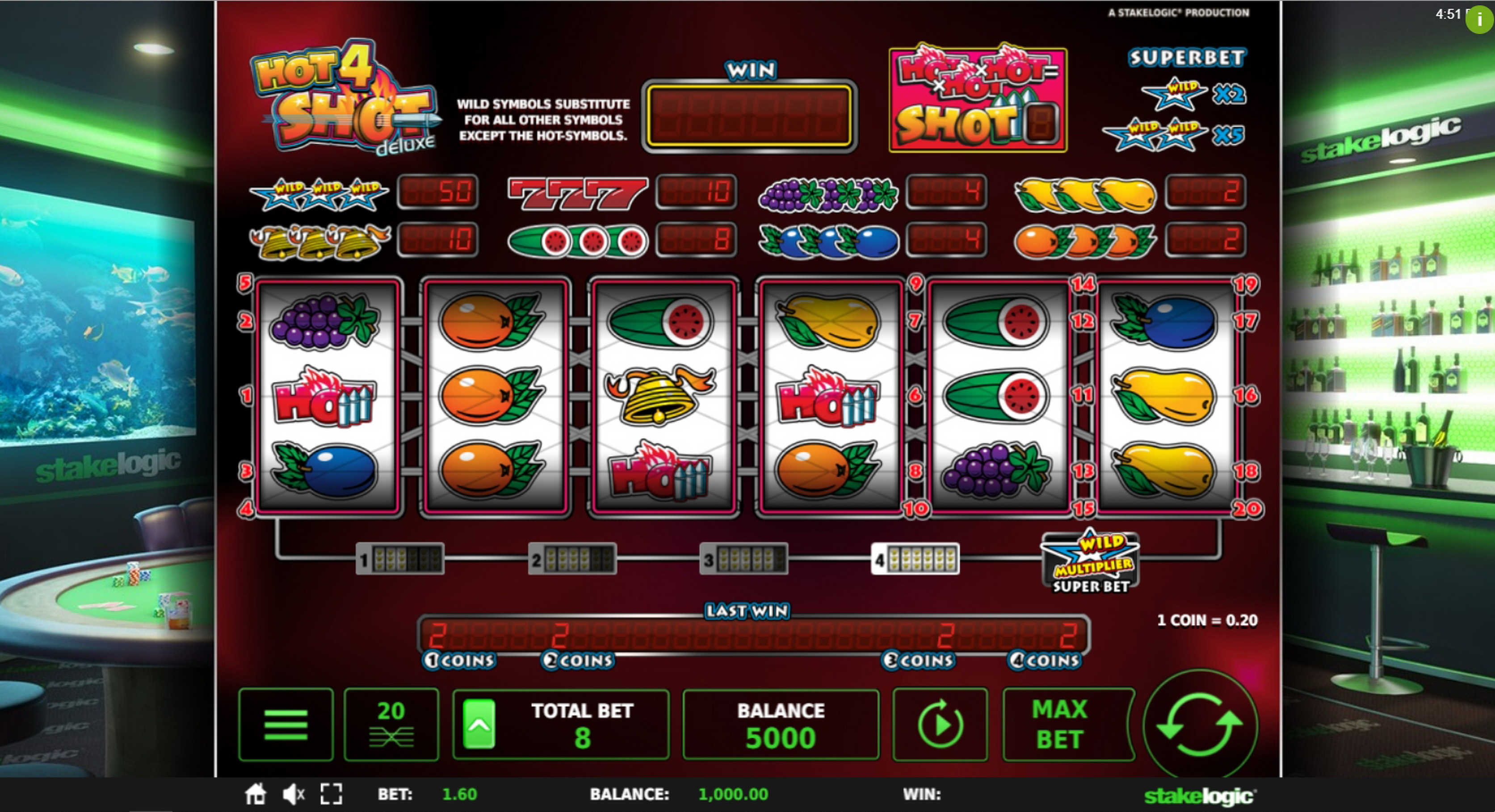 Reels in Hot4Shot Deluxe Slot Game by Stakelogic