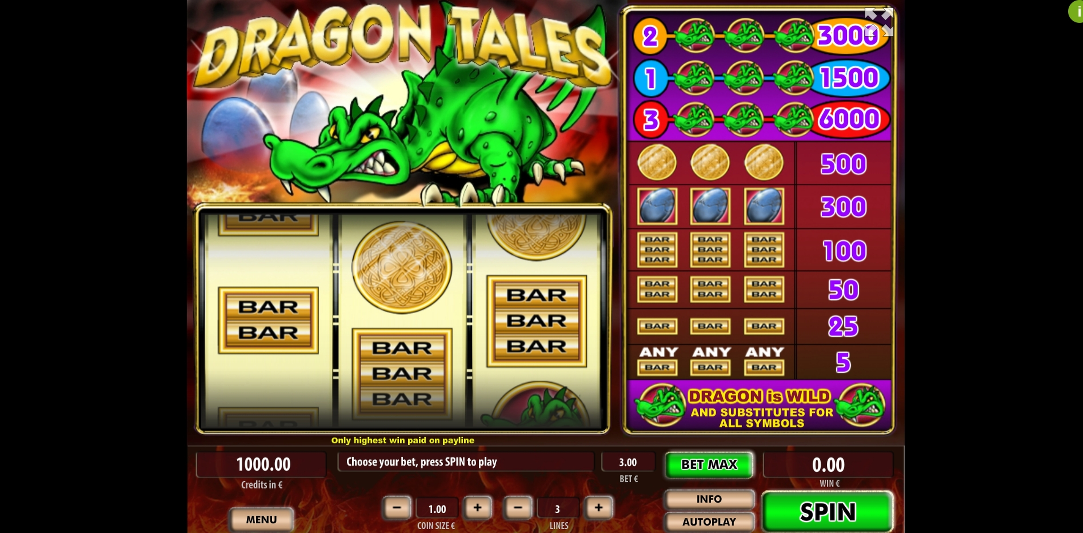 Reels in Dragon Tales Slot Game by Tom Horn Gaming