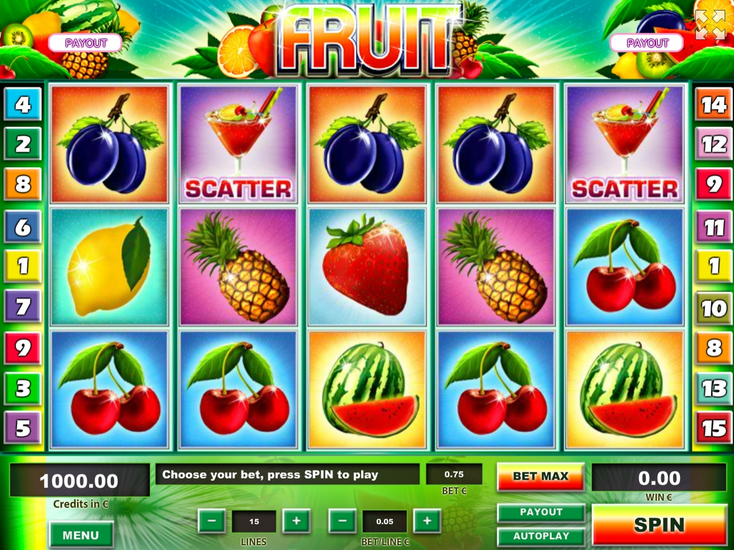 Reels in Fruit Slot Game by Tom Horn Gaming