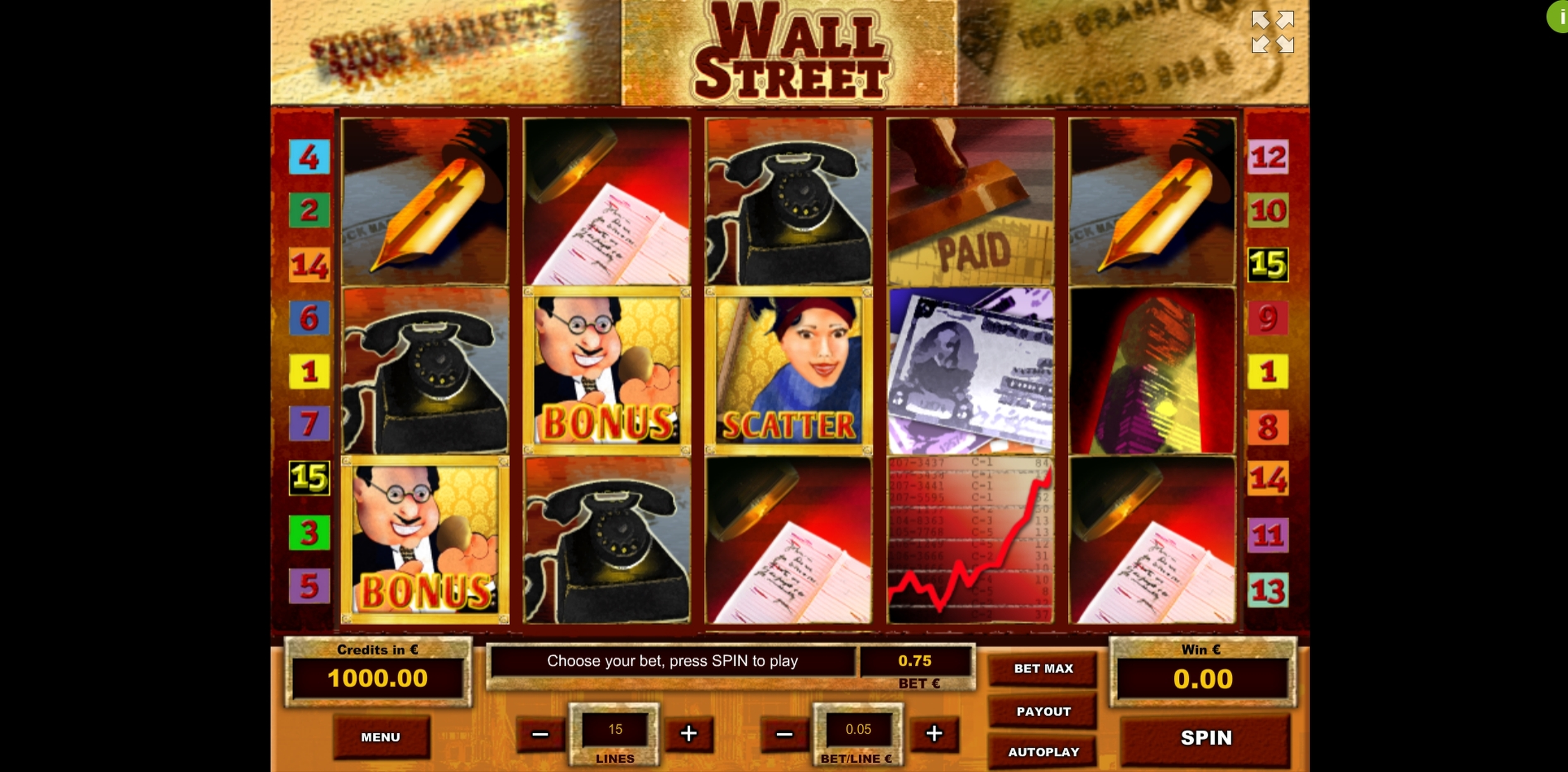 Reels in Wall Street Slot Game by Tom Horn Gaming