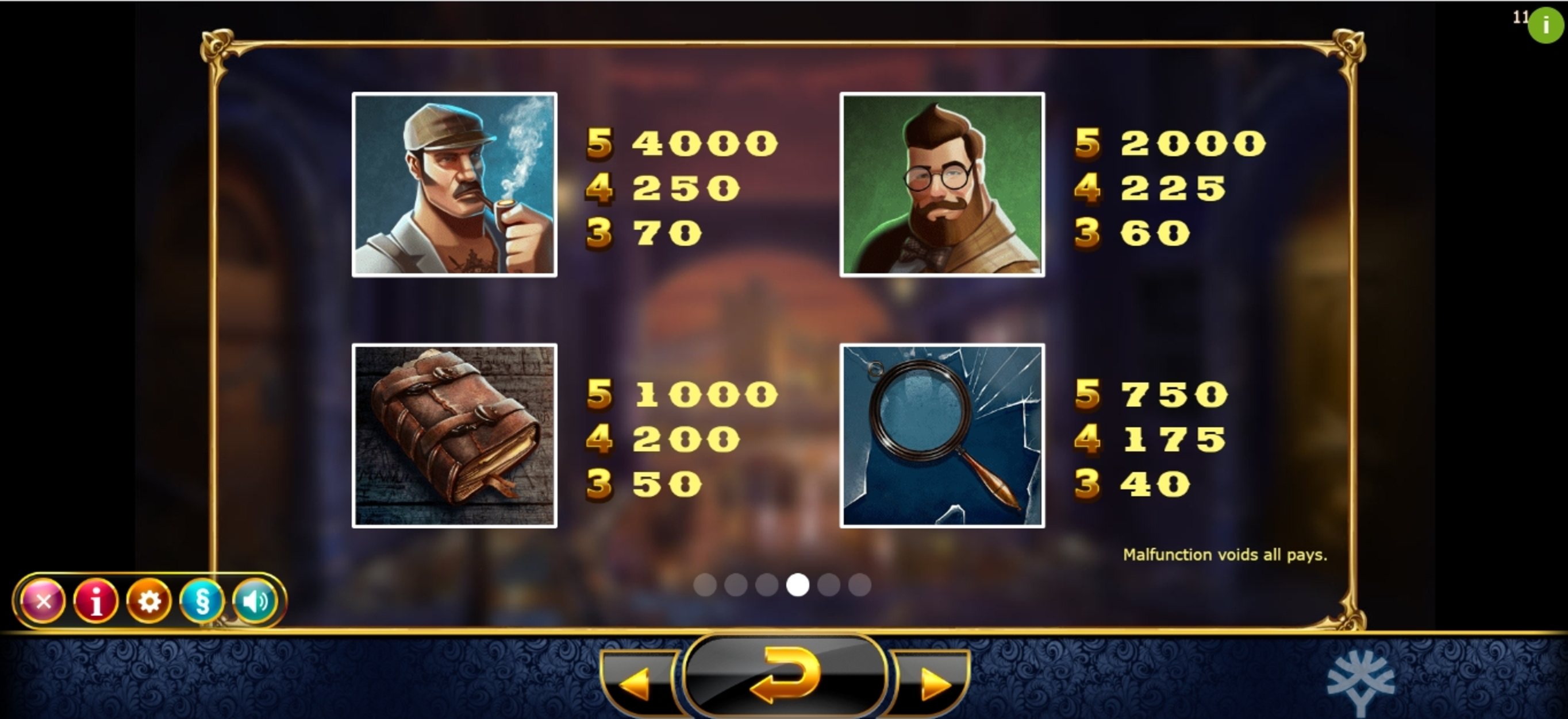 Info of Holmes and the Stolen Stones Slot Game by Yggdrasil