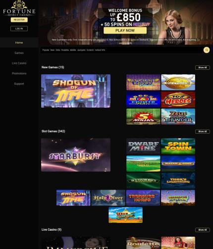 Fortunemobilecasino.co.uk Screenshot
