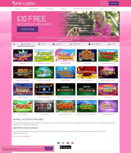 Pinkcasino.co.uk Screenshot